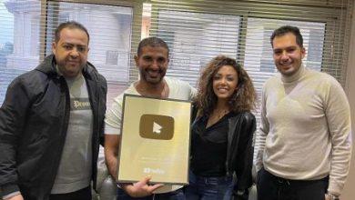 صورة درع اليوتيوب الذهبي للمطرب احمد سعد واحتفال بمزيكا