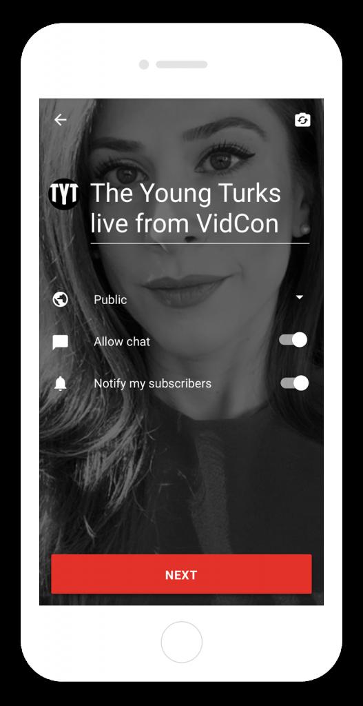 صورة يوتيوب تدمج البث المباشر مع تطبيقها